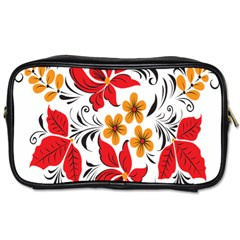 Flower Red Rose Star Floral Yellow Black Leaf Toiletries Bags 2 Side by Mariart