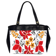 Flower Red Rose Star Floral Yellow Black Leaf Office Handbags (2 Sides)  by Mariart