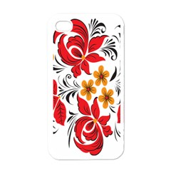 Flower Red Rose Star Floral Yellow Black Leaf Apple Iphone 4 Case (white) by Mariart