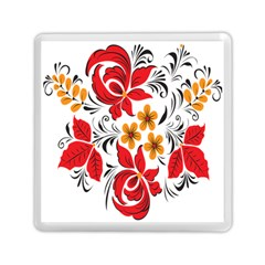 Flower Red Rose Star Floral Yellow Black Leaf Memory Card Reader (square)  by Mariart