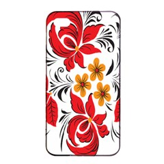 Flower Red Rose Star Floral Yellow Black Leaf Apple Iphone 4/4s Seamless Case (black) by Mariart
