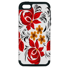 Flower Red Rose Star Floral Yellow Black Leaf Apple Iphone 5 Hardshell Case (pc+silicone) by Mariart