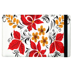 Flower Red Rose Star Floral Yellow Black Leaf Apple Ipad 3/4 Flip Case by Mariart