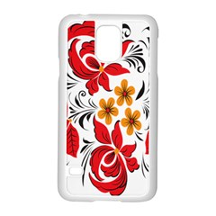 Flower Red Rose Star Floral Yellow Black Leaf Samsung Galaxy S5 Case (white) by Mariart