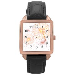 Fireworks Triangle Star Space Line Rose Gold Leather Watch  by Mariart