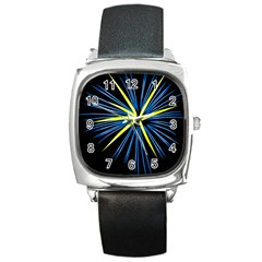 Fireworks Blue Green Black Happy New Year Square Metal Watch by Mariart