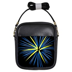 Fireworks Blue Green Black Happy New Year Girls Sling Bags by Mariart