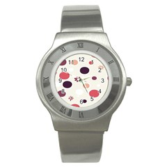 Polka Dots Flower Floral Rainbow Stainless Steel Watch by Mariart