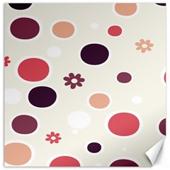 Polka Dots Flower Floral Rainbow Canvas 12  X 12   by Mariart