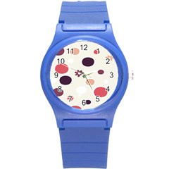 Polka Dots Flower Floral Rainbow Round Plastic Sport Watch (s) by Mariart