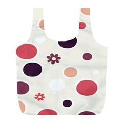 Polka Dots Flower Floral Rainbow Full Print Recycle Bags (l)  by Mariart