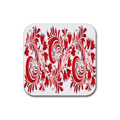 Red Flower Floral Leaf Rubber Square Coaster (4 Pack)  by Mariart