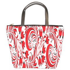 Red Flower Floral Leaf Bucket Bags by Mariart