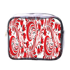 Red Flower Floral Leaf Mini Toiletries Bags by Mariart