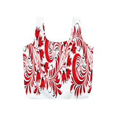 Red Flower Floral Leaf Full Print Recycle Bags (s)  by Mariart
