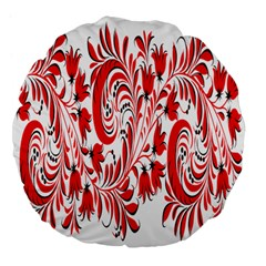 Red Flower Floral Leaf Large 18  Premium Flano Round Cushions by Mariart