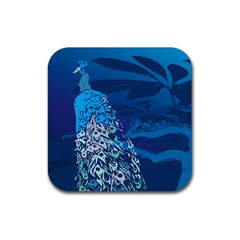 Peacock Bird Blue Animals Rubber Square Coaster (4 Pack)  by Mariart