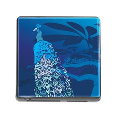 Peacock Bird Blue Animals Memory Card Reader (square) by Mariart
