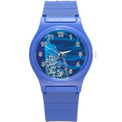 Peacock Bird Blue Animals Round Plastic Sport Watch (s) by Mariart