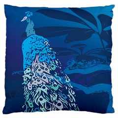 Peacock Bird Blue Animals Large Cushion Case (two Sides) by Mariart