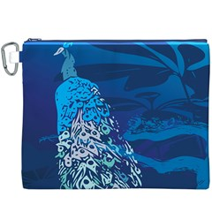 Peacock Bird Blue Animals Canvas Cosmetic Bag (xxxl) by Mariart