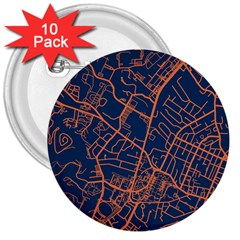Virginia Map Art City 3  Buttons (10 Pack)  by Mariart