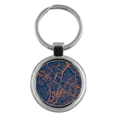 Virginia Map Art City Key Chains (round)  by Mariart