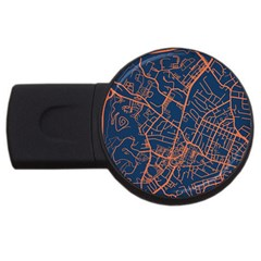Virginia Map Art City Usb Flash Drive Round (4 Gb) by Mariart