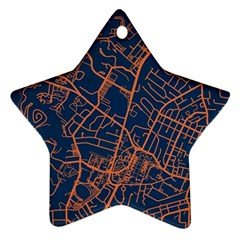 Virginia Map Art City Star Ornament (two Sides) by Mariart