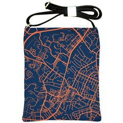 Virginia Map Art City Shoulder Sling Bags by Mariart