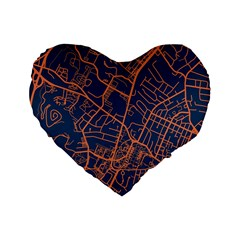 Virginia Map Art City Standard 16  Premium Flano Heart Shape Cushions by Mariart