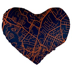 Virginia Map Art City Large 19  Premium Flano Heart Shape Cushions by Mariart