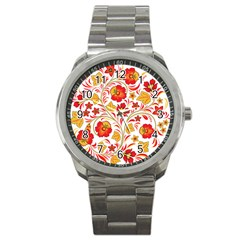 Wreaths Flower Floral Sexy Red Sunflower Star Rose Sport Metal Watch by Mariart
