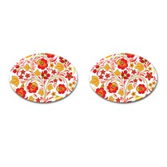 Wreaths Flower Floral Sexy Red Sunflower Star Rose Cufflinks (oval) by Mariart