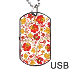 Wreaths Flower Floral Sexy Red Sunflower Star Rose Dog Tag Usb Flash (one Side) by Mariart