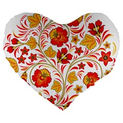 Wreaths Flower Floral Sexy Red Sunflower Star Rose Large 19  Premium Heart Shape Cushions by Mariart