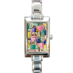 Magazine Balance Plaid Rainbow Rectangle Italian Charm Watch by Mariart