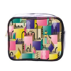 Magazine Balance Plaid Rainbow Mini Toiletries Bags by Mariart