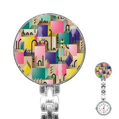 Magazine Balance Plaid Rainbow Stainless Steel Nurses Watch by Mariart