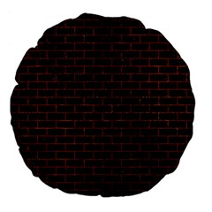 Brick1 Black Marble & Reddish Brown Leather (r) Large 18  Premium Flano Round Cushions by trendistuff
