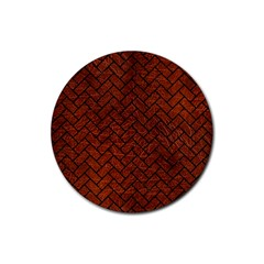 Brick2 Black Marble & Reddish Brown Leather Rubber Coaster (round)  by trendistuff