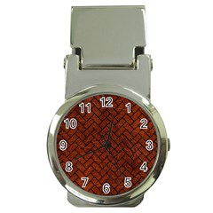Brick2 Black Marble & Reddish Brown Leather Money Clip Watches by trendistuff
