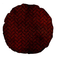 Brick2 Black Marble & Reddish Brown Leather Large 18  Premium Flano Round Cushions by trendistuff