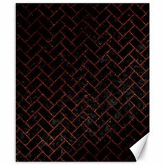 Brick2 Black Marble & Reddish Brown Leather (r) Canvas 8  X 10  by trendistuff