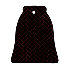 Brick2 Black Marble & Reddish Brown Leather (r) Bell Ornament (two Sides) by trendistuff