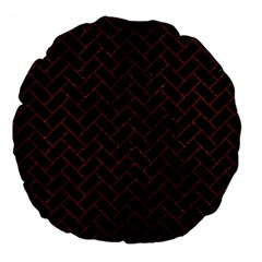 Brick2 Black Marble & Reddish Brown Leather (r) Large 18  Premium Flano Round Cushions by trendistuff