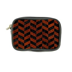 Chevron1 Black Marble & Reddish Brown Leather Coin Purse by trendistuff