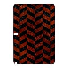 Chevron1 Black Marble & Reddish Brown Leather Samsung Galaxy Tab Pro 12 2 Hardshell Case by trendistuff