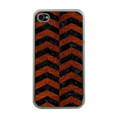 Chevron2 Black Marble & Reddish Brown Leather Apple Iphone 4 Case (clear) by trendistuff
