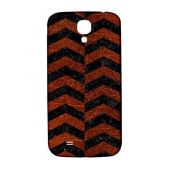 Chevron2 Black Marble & Reddish Brown Leather Samsung Galaxy S4 I9500/i9505  Hardshell Back Case by trendistuff